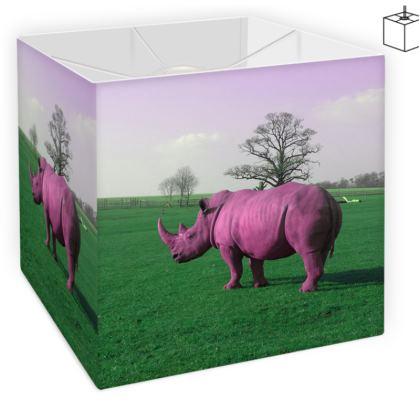 Square Lamp Shade - Pink Rhino