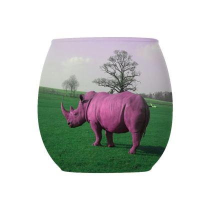 Glass Tealight Holder - Pink Rhino