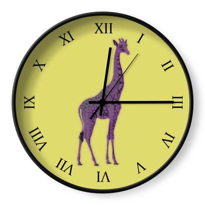 Wall Clocks - Purple Neon Giraffe