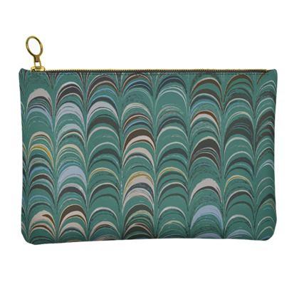 Leather Clutch Bag - Around Ex Libris Jade Remix (1800 -1950)