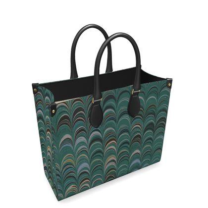 Leather Shopper Bag - Around Ex Libris Jade Remix (1800 -1950)