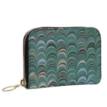 Small Leather Zip Purse - Around Ex Libris Jade Remix (1800 -1950)