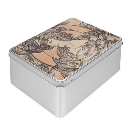 Biscuit Tin - Alphonse Maria Mucha Stained Glass #1