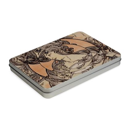 Tin Box Hinge Lid - Alphonse Maria Mucha Stained Glass #1