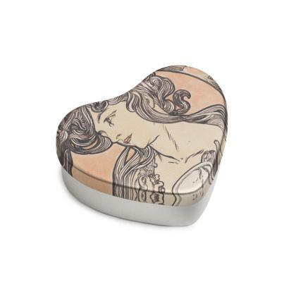 Sweet Heart Tin - Alphonse Maria Mucha Stained Glass #1