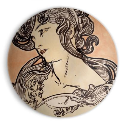 Ornamental Bowl - Alphonse Maria Mucha Stained Glass #1