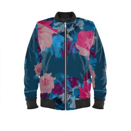 ladies bomber jacket blue snake
