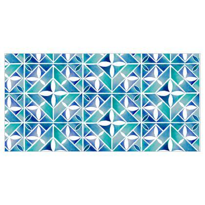 Blue tiles Fabric printing
