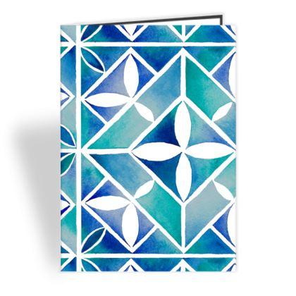 Blue tile greeting card
