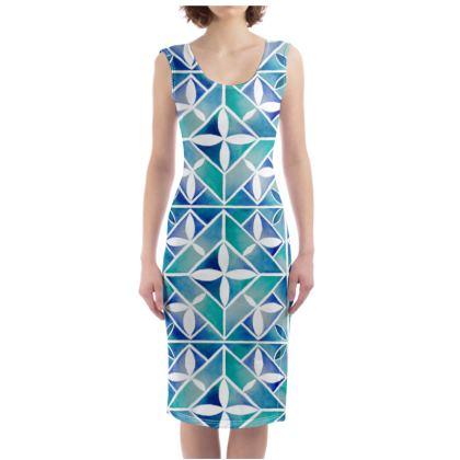 Blue tile bodycon dress