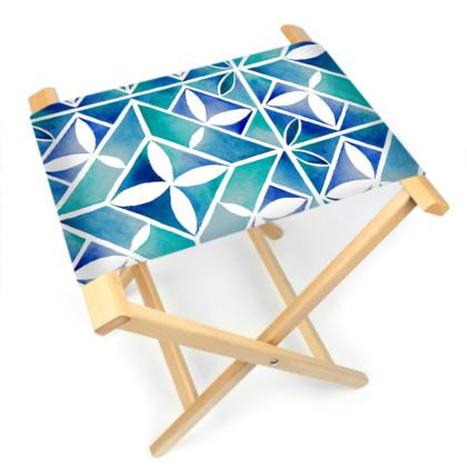 Blue tile stool chair