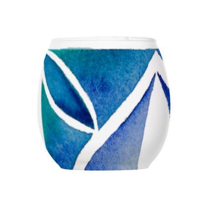 Blue tile tea light holder