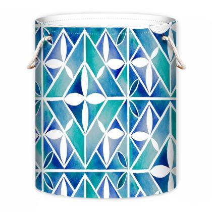 Blue tile Laundry bag