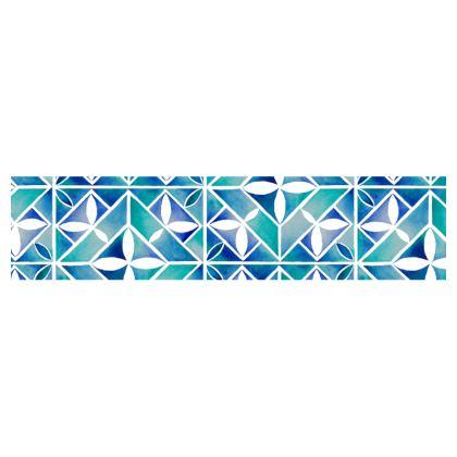 Blue tile table runner