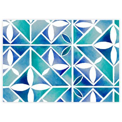 Blue tile sample test print