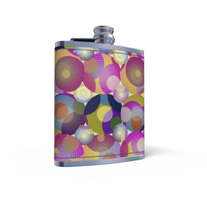Moon Collection on cream Leather Wrapped Hip Flask