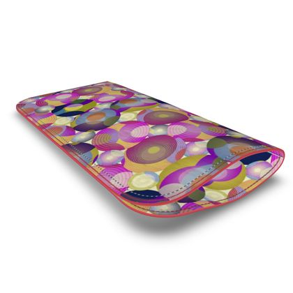 Moon Collection on cream Leather Glasses Case