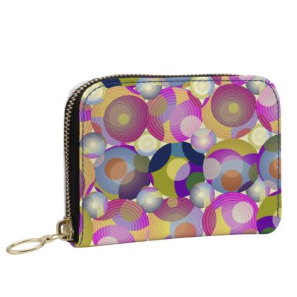 Moon Collection on cream Small Leather Zip Purse