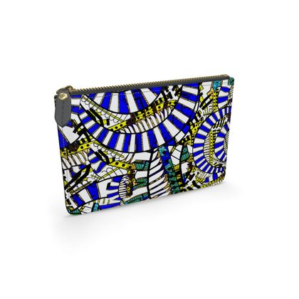 Wings of Death - Blue and White - Leather Pouch