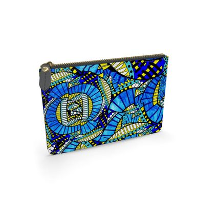 Wings of Death - Bright Blue - Leather Pouch
