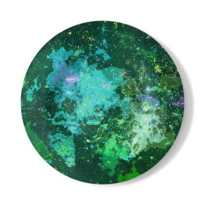 Decorative Plate - Jade Nebula Galaxy Abstract