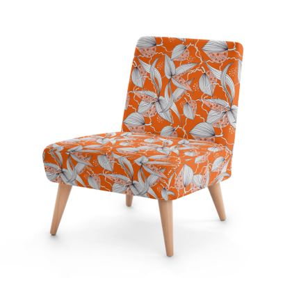 Occasional Chair: Stripy Leaves on Orange