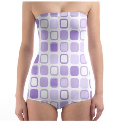 Retro Art Design Purple Swimsuit