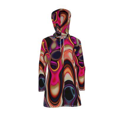 Womens Hooded Rain Mac Fashion Circles 5
