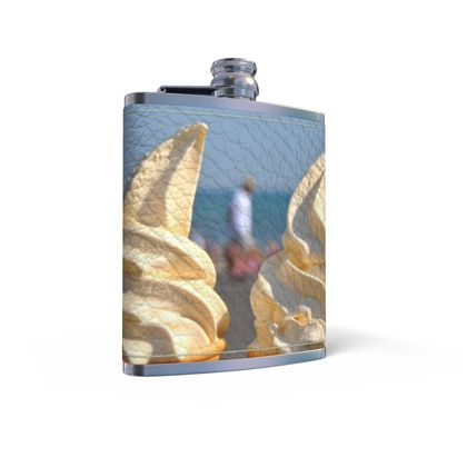 Leather Wrapped Hip Flask - Ice Cream