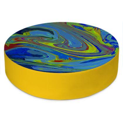 Round Floor Cushions - Abstract Diesel Rainbow 3
