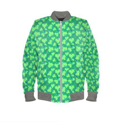 Mens Bomber Jacket Oriental leaves on green