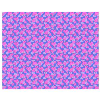 Kimono Oriental Leaves Pink on Blue