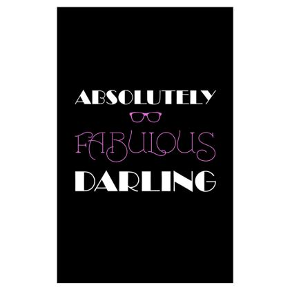 Curtains (116cmx182cm) - Absolutely Fabulous Darling - ABFAB (White text)