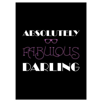Curtains (167cmx229cm) - Absolutely Fabulous Darling - ABFAB (White text)