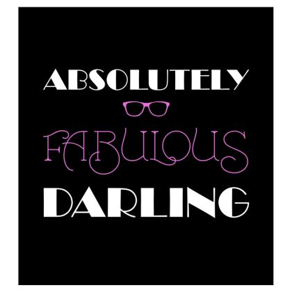 Voile Curtains (167cmx182cm) - Absolutely Fabulous Darling - ABFAB (White text)