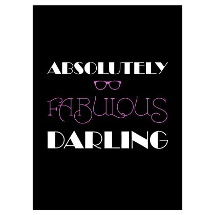 Voile Curtains (167cmx229cm) - Absolutely Fabulous Darling - ABFAB (White text)