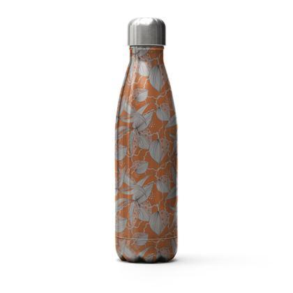 Stainless Steel Thermal Bottle: Stripy Leaves on Orange