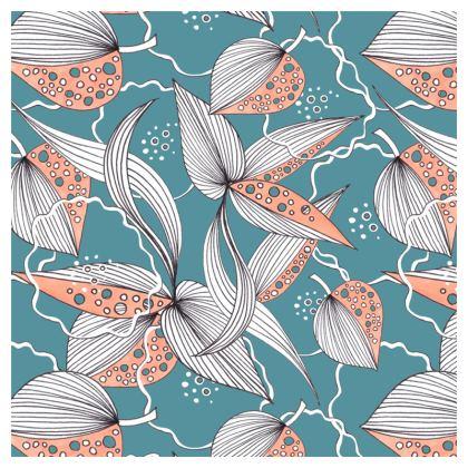 Cushion: Stripy Leaves on Turquoise