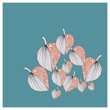 Cushion: Stripy Leaves on Turquoise 2