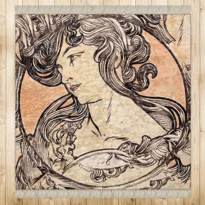 Medium Rug (128cmx128cm) - Alphonse Maria Mucha Stained Glass #1