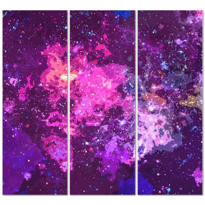 Triptych Canvas - Pink Nebula Galaxy Abstract