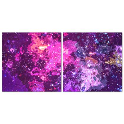 Diptych Canvas - Pink Nebula Galaxy Abstract