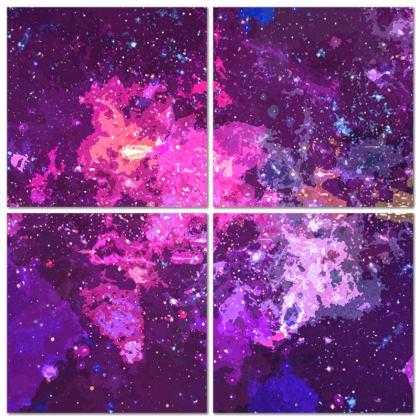 Multi Panel Split - Pink Nebula Galaxy Abstract