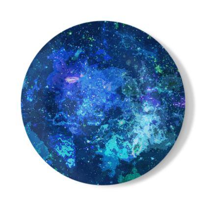 Decorative Plate - Blue Nebula Galaxy Abstract