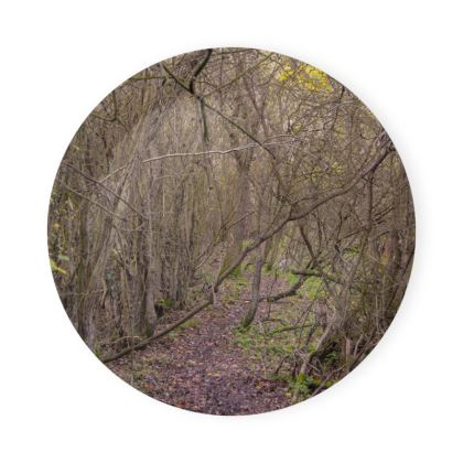 Round Coaster Trays - Trail in the woods