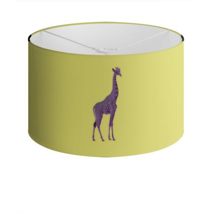 Drum Lamp Shade - Purple Neon Giraffe