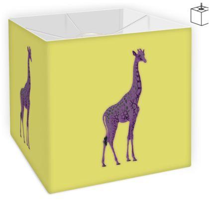 Square Lamp Shade - Purple Neon Giraffe