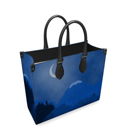 Leather Shopper Bag - Midnight Camping