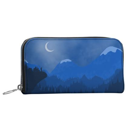 Leather Zip Purse - Midnight Camping