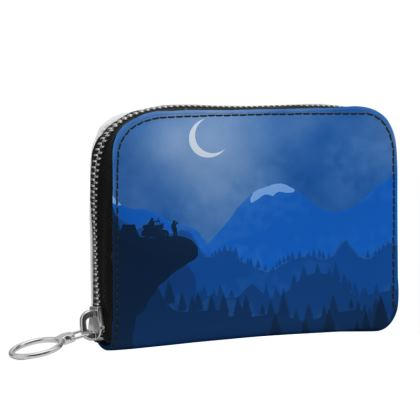 Small Leather Zip Purse - Midnight Camping